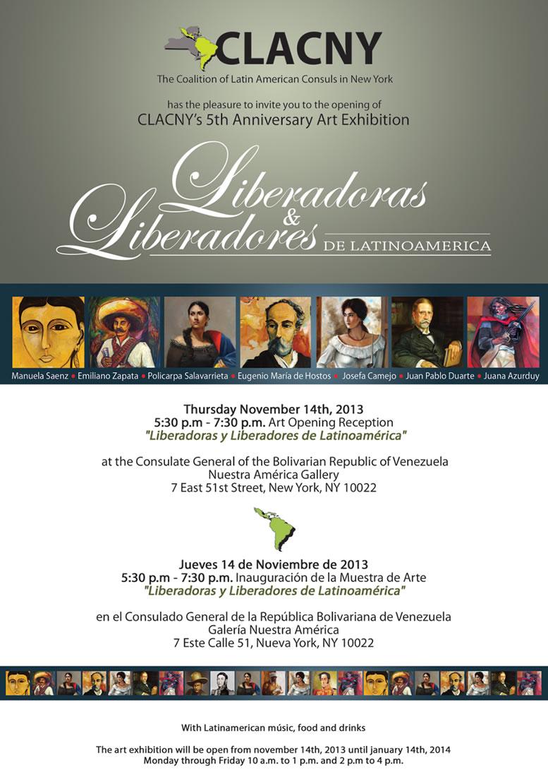 CLACNY 5th Anniversary Art Exhibition: Liberadoras y Liberadores de Latino América